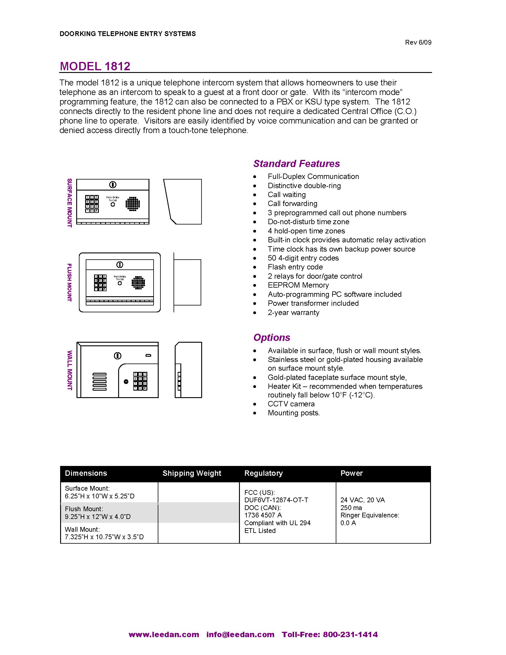1812 Brochure · DoorKing 1812 Spec Sheet  sc 1 st  Lee Dan & Doorking 1812 Telephone Intercom Entry Residential System Panel