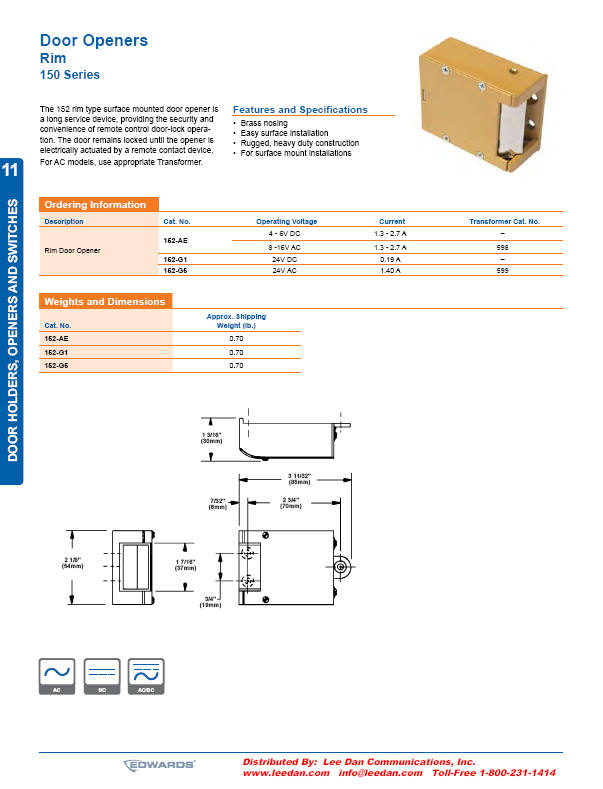 Edwards_152pdf edwards 152 ae, 152 g1, 152 g5 rim type electric door openers edwards 592 transformer wiring diagram at mifinder.co