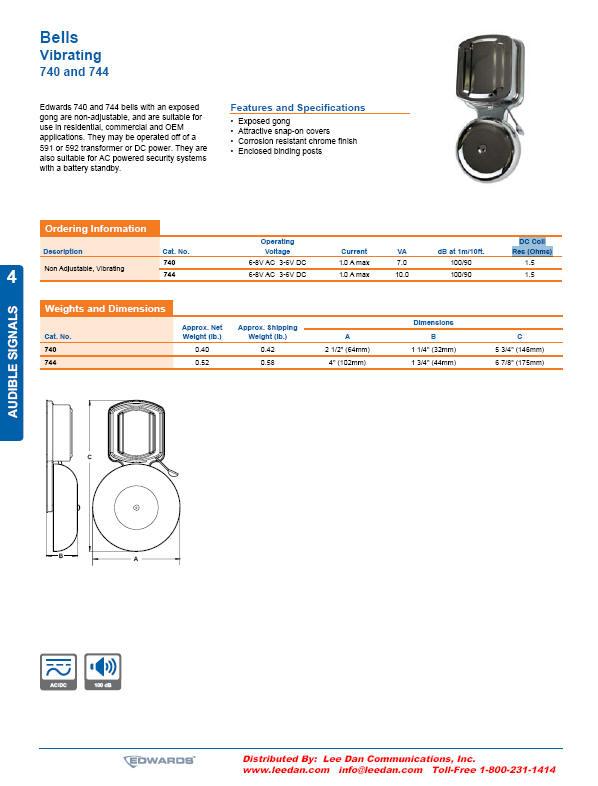 edwards 740 744 vibrating bells. Black Bedroom Furniture Sets. Home Design Ideas