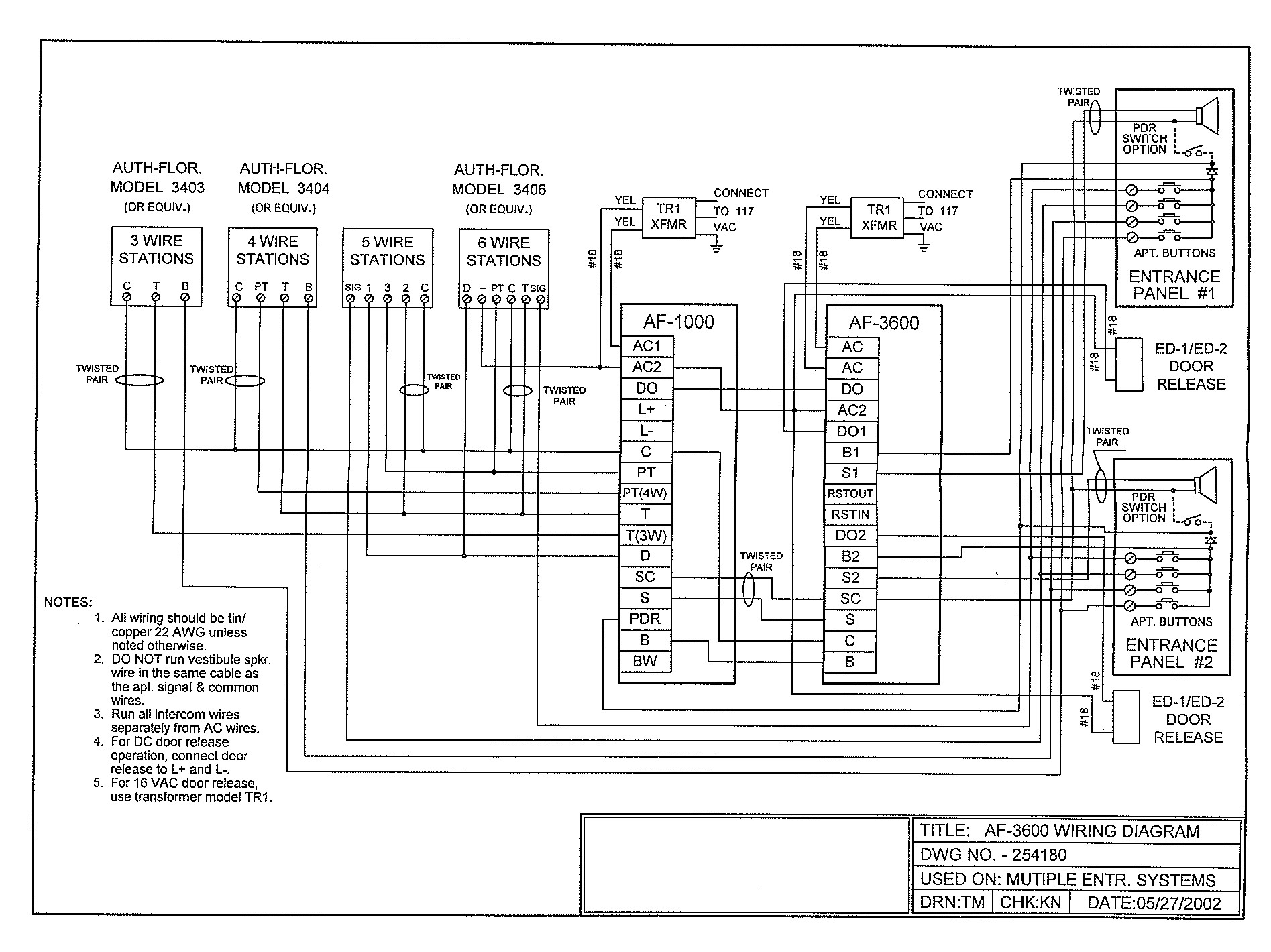 Pacific_AF3600_Diagram pacific electronics af3600 af 3600 transfer relay unit 2Wire Intercom Schematic at gsmx.co