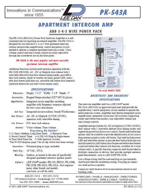 Lee Dan Pk 543a Apartment Intercom Amplifier